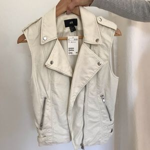 H&M White Faux-Leather Motorcycle Vest